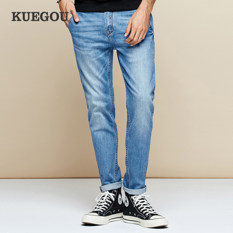 KUEGOU 2019 Autumn Cotton Blue Distressed Skinny Jeans Men Streetwear Brand Slim Fit Denim Pants For Male Stretch Trousers 2959