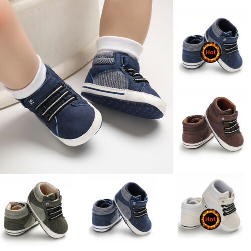 0-18M Newborn Baby Soft Sole Crib Shoes Boys Kids Lace-Up Ankle Boots Sneakers
