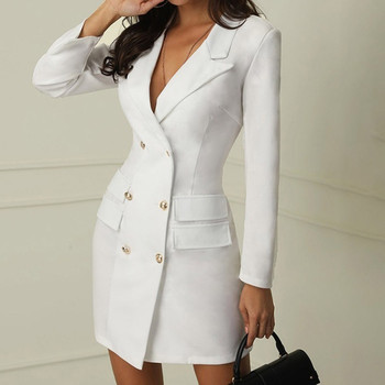 Women Casual Solid Jackets Female Elegant Double Breasted Long Ladies Plus Size Button Military Style Dress 4
