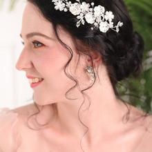 2020 New arrival Silver Pearl Ornaments Vintage Flower and Leaves Handmade Birde Hair