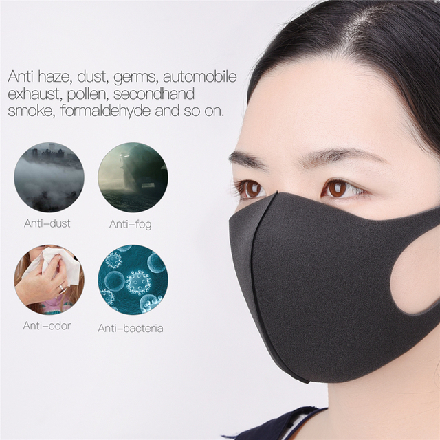 3pcs 10pcs Black Kpop Mouth Mask Breathable Unisex Sponge Face Mask Reusable Anti Pollution Face Shield Wind Proof Mouth Cover 2