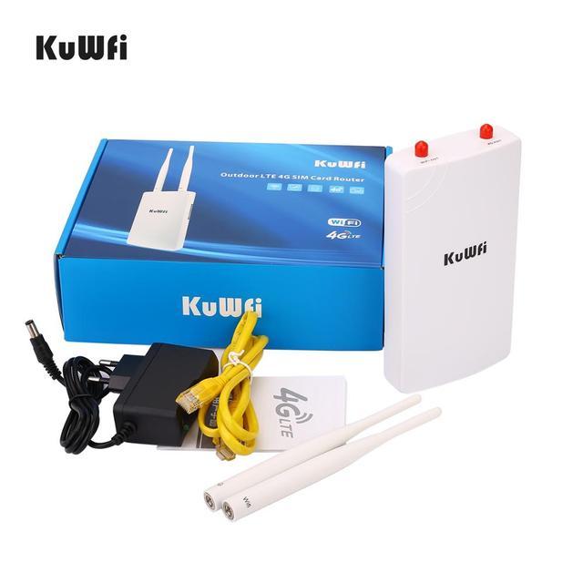 KuWFi Wodoodporny zewnętrzny router 4G CPE 150Mbps CAT4 LTE Routery 3G / 4G Karta SIM Router WiFi do kamery IP / Zewnętrzny zasięg WiFi