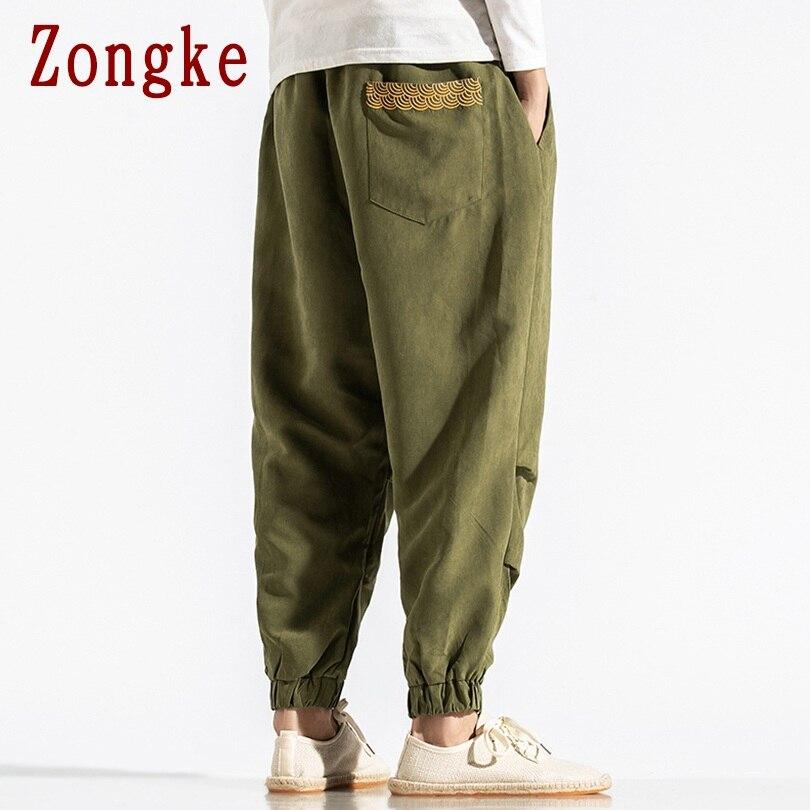 Zongke Washed Pants Men Joggers Trousers Men Pants Streetwear Sweatpants Harem Pants Men Trousers 5XL Hip Hop 2019 Autumn New