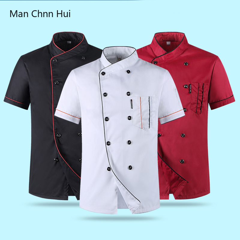 Red Unisex Kitchen Hotel Chef Uniform Bakery Food Service Cook Short Sleeve Shirt Breathable Double Breasted Chef Jacket Clothes
