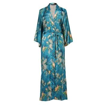 Silky Satin Plus Size Chinese Women Robe Vintage Print Kimono Bathrobe Home Dress Gown Long Nightgown Green Flower Sleepwear slit side flower print kimono
