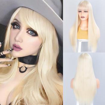 SUe wykwintne peruki syntetyczne dla kobiet blond długie proste z Bangs syntetyczne damskie peruki żaroodporne naturalne pełne peruki tanie i dobre opinie SUe EXQUISITE Wysokiej Temperatury Włókna long 1 sztuka tylko Średnia wielkość