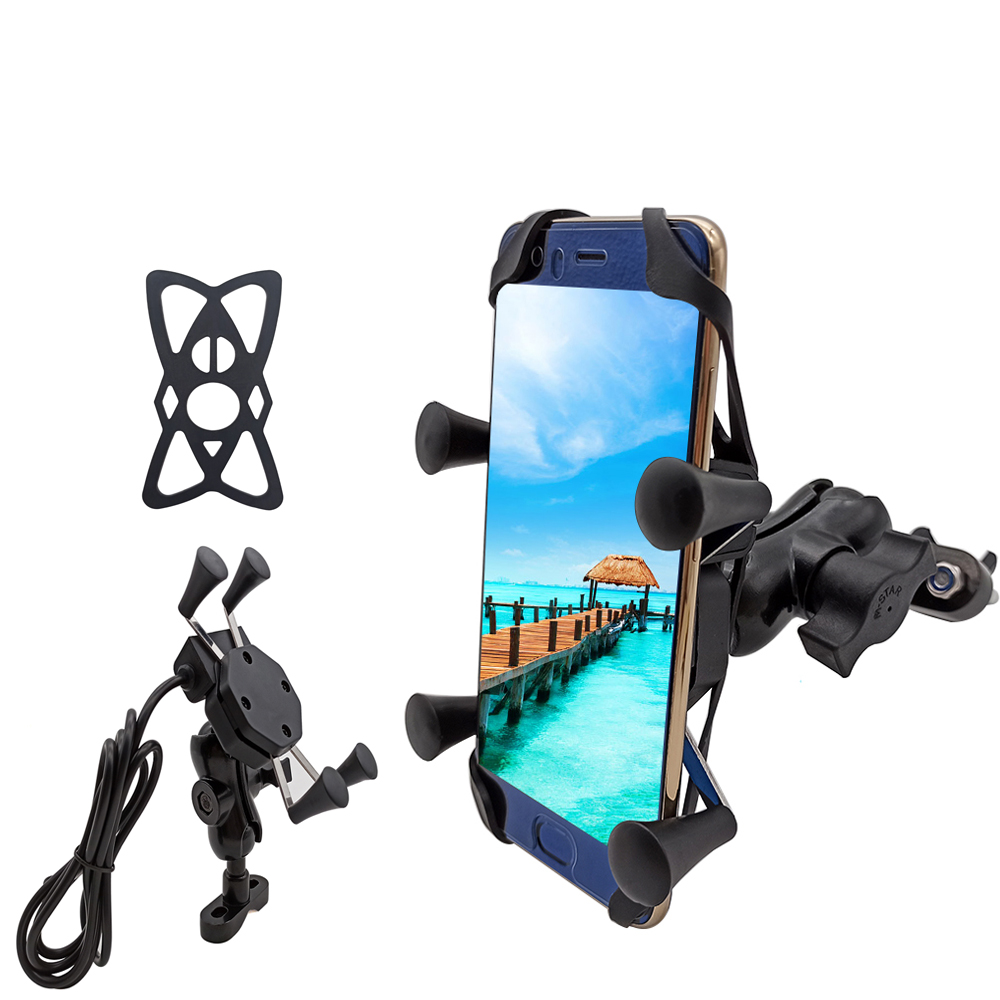 For Honda VF750 VFR750 VFR800 VTR1000F Vfr 750 800 ST 1300 Motorcycle Mobile Phone Stand Holder With USB Charger 360 Rotatable