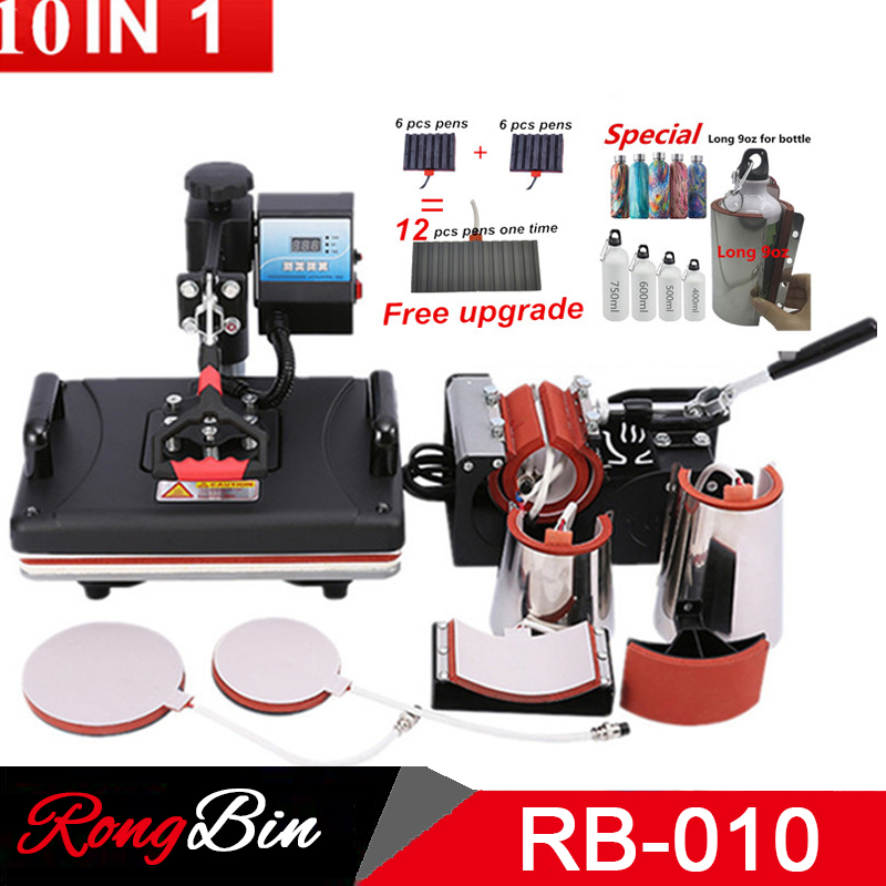 10 In 1 Sublimation Heat Press Machine T shirt Heat Transfer Printer For Mug/phone case/Cap/bottle/pen 1