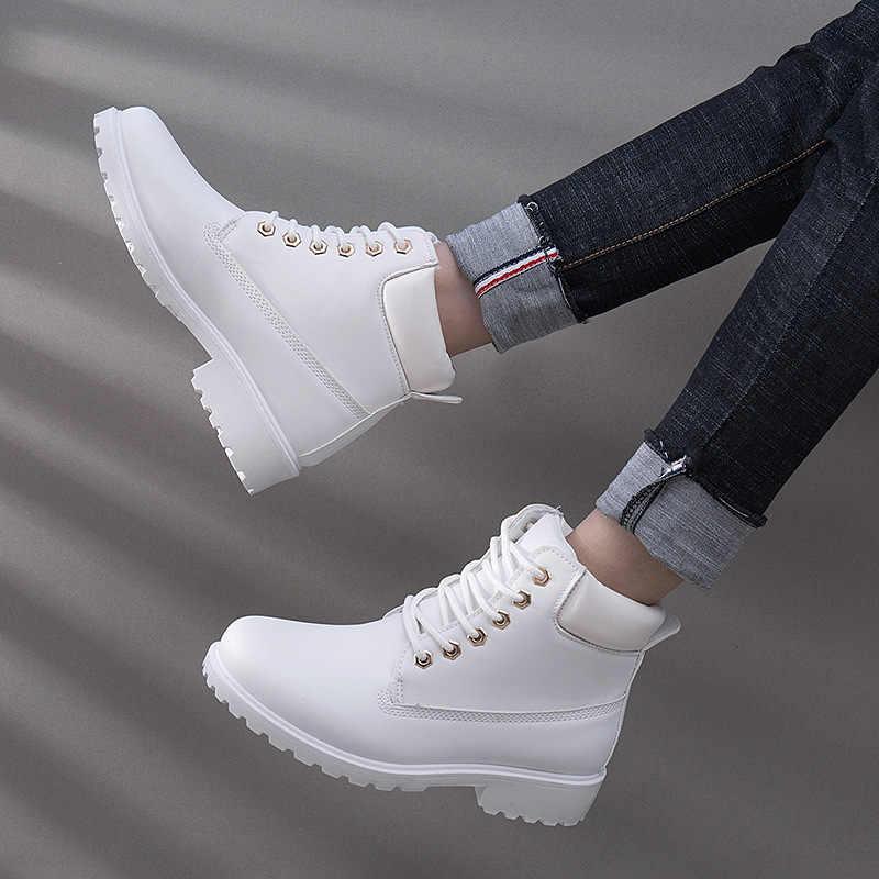 รองเท้าบูทข้อเท้าสำหรับสตรี 2019 ใหม่ Snow BOOTS แฟชั่นฤดูหนาวรองเท้าผู้หญิงส้นรองเท้าผู้หญิง PLUS ขนาด 36-41