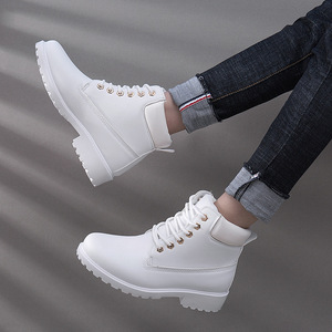 Image 1 - Ankle Boots For Women 2019 New Brand Snow Boots Fashion Warm Winter Boots Women Solid Square Heel Shoes Woman Plus Size 36 41