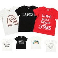 Summer Baby Clothes Boys White T Shirt Girls Tshirt Children Cartoon Letter Printing T-shirts Kids T-shirts Infant Tee Clothes