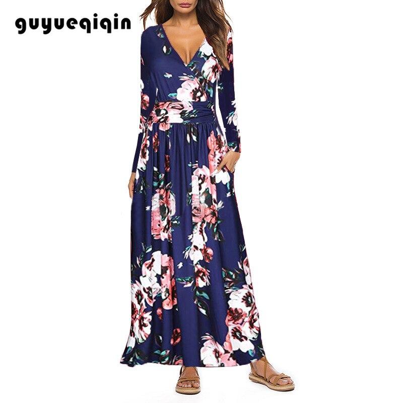 Guyueqiqin Fashion Printed V-neck Dress Long Sleeve Pocket Women Sexy Maxi