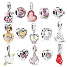 2pc New Fashion Crystal Heart Charms Beads Pendant Fit Pandora Bracelets For Women DIY Jewelry Making As Valentine s Gift