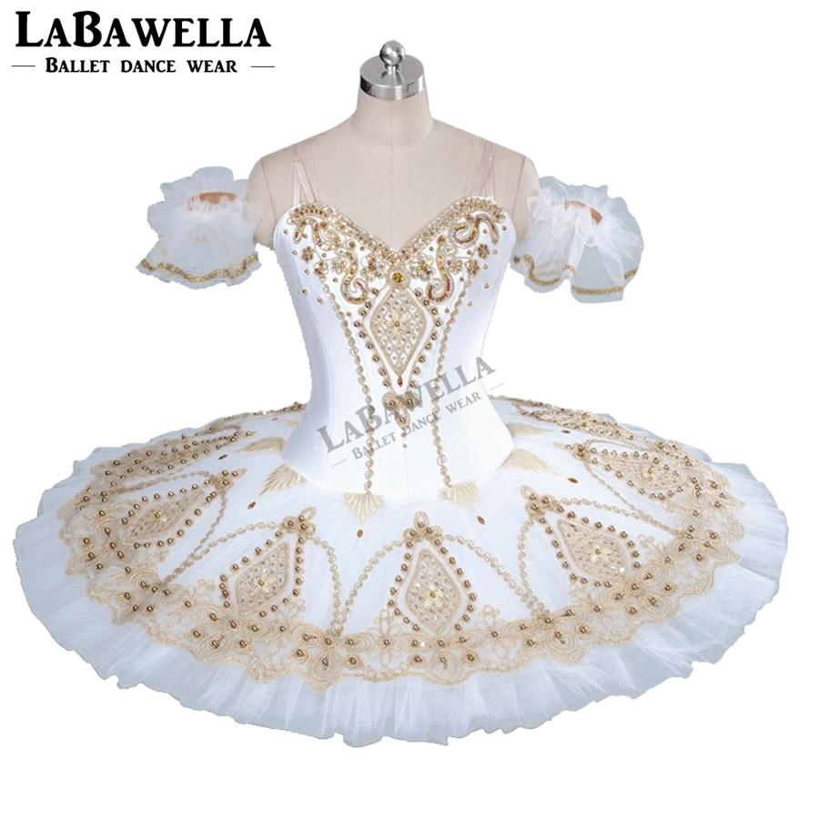 Women Classical Ballet Stage Costumes BT9056 Adult Professional Ballet Tutu White Gold Fairy Doll Pancake Platter Performance