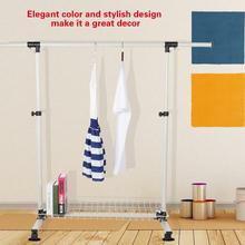 Collapsible Single Rail Adjustable Clothes Hanger Rolling Garment Rack Duty Rail
