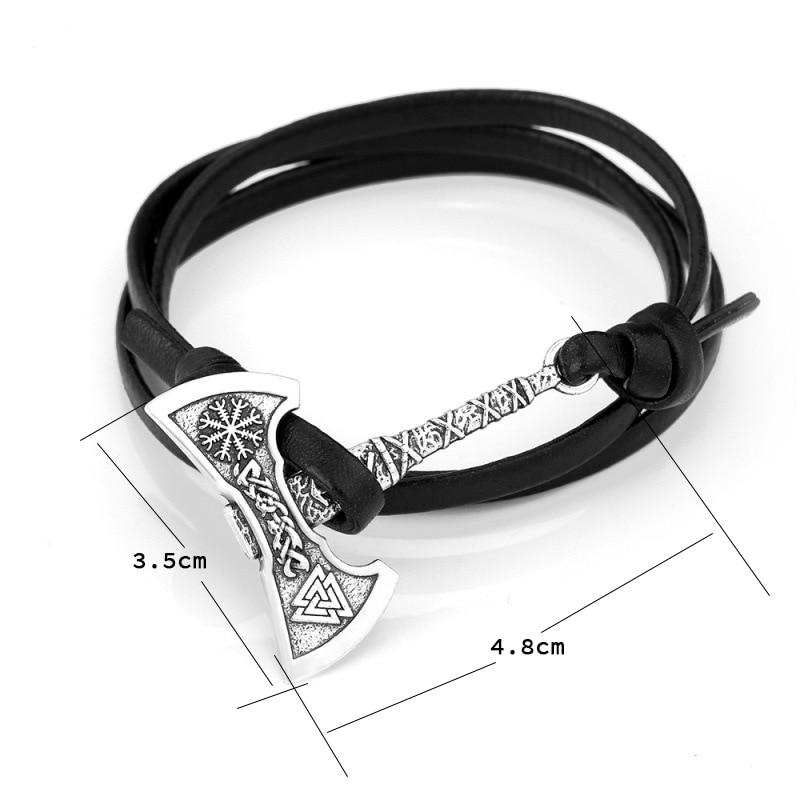 Noter Mens Ax Viking Bracelet Antique Hatchet Braslet Handmade Braided Multilayer Leather Pirate Bracelet For Male Hand Jewelry 4