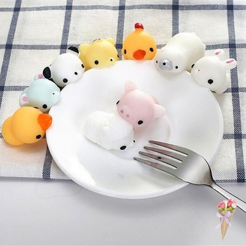 10pcs Squishy Phone Straps Soft Press Squeeze Bread Cake Panda/Pig/Sheep/Rabbit/Tiger/Duck Slow Rising Kids Toy Gift 4-3.4-2.5cm