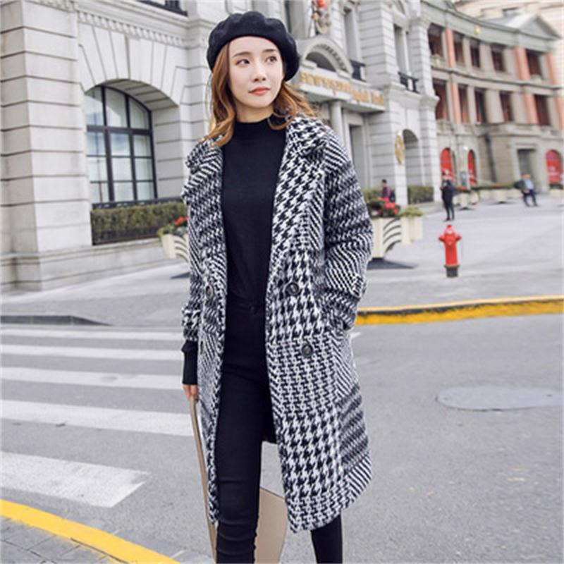 Fashion Woolen Plaid Blazers Women Jackets Suit Ladies Winter New Loose Blazer Casual Suit Female Long Section Woolen Coat