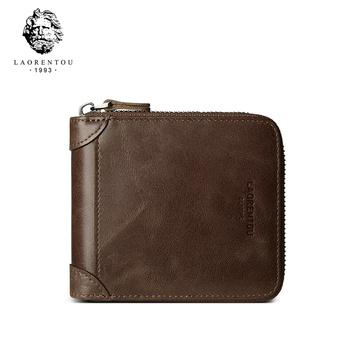 LAORENTOU Genuine Leather Men Wallet Vintage Men's Short Cow Leather Wallets Casual Male Coin Purse Standard Card Holder for Man genuine cow leather men wallets rfid double zipper card holder high quality male wallets purse vintage coin holder men wallets