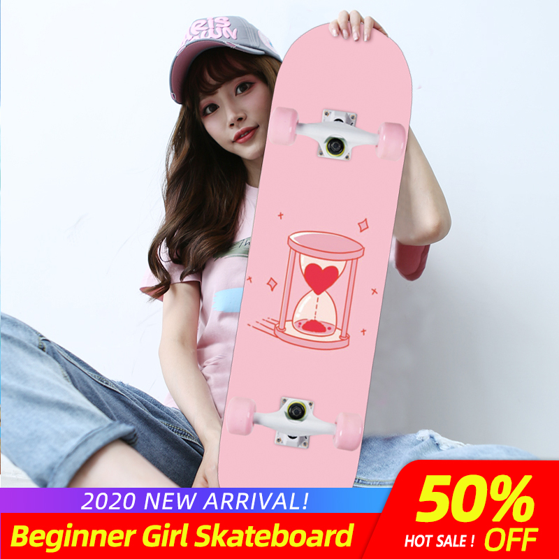 ARDEA Double Rocker Skateboard Beginner 79cm/31in Girls Primary Skate Board Natural Wood Maple Deck Solid And Flash Four Wheels
