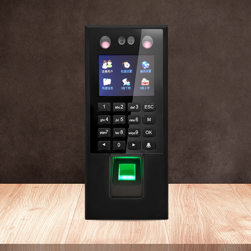 Face Fingerprint Password Time Attendance Machine Employee Checking-in Recorder LCD Screen DC 12V Time Attendance, U-Disk
