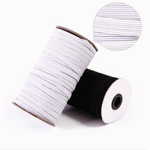 3/4/5/6/8/10/12mm 5yards Hight Elastic Bands Spool Sewing Band Flat Elastic Cord White and Black Diy Handmade Accessories