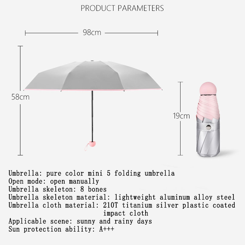 Image 2 - Mini Pocket Umbrella Women Titanium Silver Glue UV Small Umbrellas Rain Women Waterproof Men Sun Parasol Convenient Girls Travel-in Umbrellas from Home & Garden