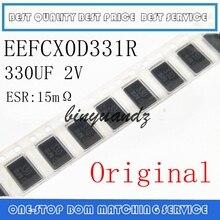 50 قطعة 100 قطعة 200 قطعة EEF CX0D331R EEFCX0D331R 330 فائق التوهج 2V 2.5V SMD المكثفات التنتالوم البوليمر البوليمر السعة