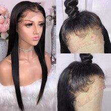 360 парики из натуральных волос на кружевной основе для черных женщин, длинные прямые волосы, парик из 150% натуральных бразильских волос Remy с детскими волосами