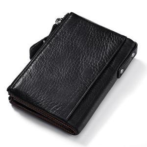 Image 2 - KAVIS portefeuilles Vintage en cuir véritable pour femmes, Mini portefeuille à fermeture éclair, porte monnaie, pochettes, 100%