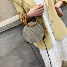 Small bag female 2019 new round straw ring hand-woven woven beach  of the shoulder Messenger handbags purse