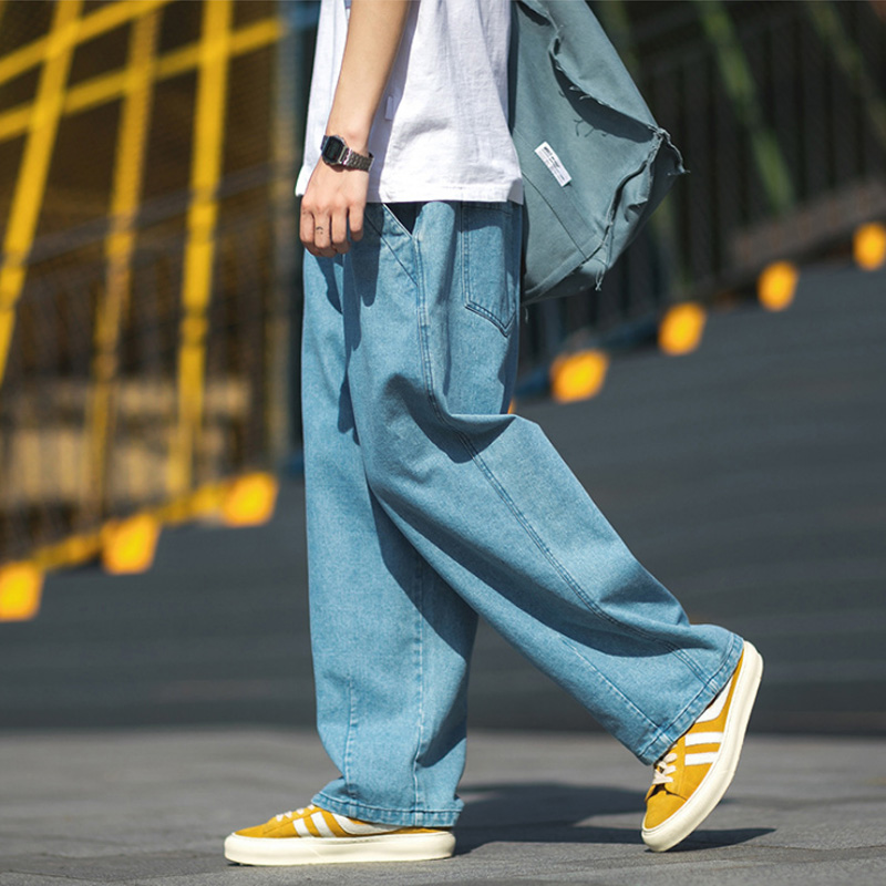 New Arrival Men's Jeans Autumn Winter Japanese Stylish Popular Printed Logo Solid Color Straight Wash Denim Trousers Men's Pant