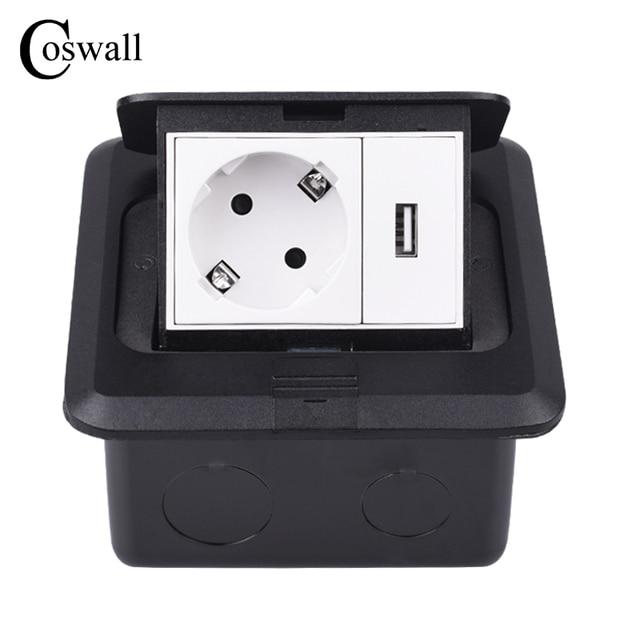 Coswall オールアルミ黒パネルスローポップソケット 16A ロシアスペイン Eu の標準電源コンセントと USB 充電ポート 5V 1A