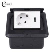 Coswall Alle Aluminium Zwart Paneel Slow Pop Up Floor Socket 16A Rusland Spanje EU Standaard Stopcontact Met USB Opladen poort 5V 1A