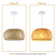İskandinav Ratta lamba el yapımı kolye lamba bambu avize Retro bahçe restoran Cafe Bar salon aydınlatma dekoratif lamba