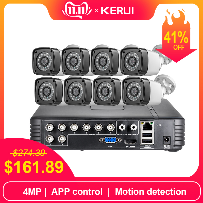 KERUI AHD Home Security Camera System 8CH DVR Kits Audio Record With 8pcs 4MP Camera HDMI CCTV Video Surveillance System Set-in Surveillance System from Security & Protection