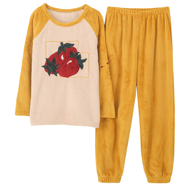 Korean Version Flannel Pajama New Home Wear Thickened Coral Wool Suit Girls Pajamas Woman Homewear Autumn And Winter