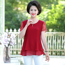 Women Summer Chiffon Blouses Lace Crochet Short Sleeve Round Collar Crepe Thin Tops Female Red Green Blue Pink Layered Blouse layered flounce lace insert long sleeve blouse