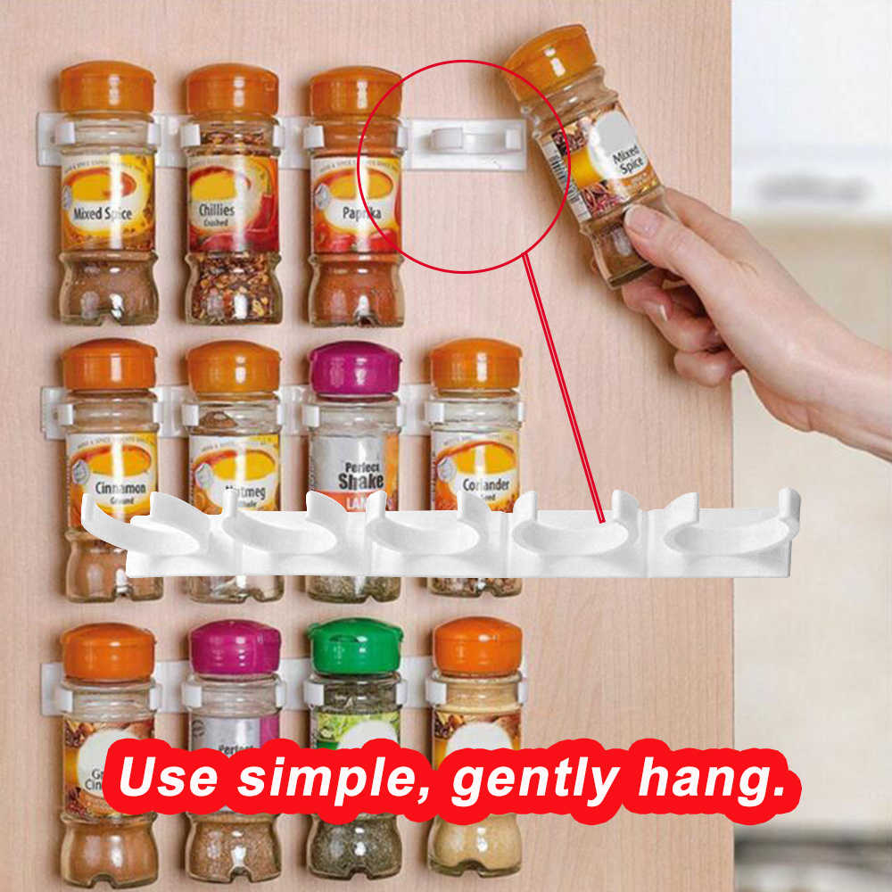 20x Clips Kitchen Spice Gripper Strip Jar Rack Storage Holder Wall Cupboard Door