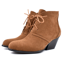 цены YANSHENGXIN Shoes Woman Boots Suede Ankle Boots Spike Heels Women Shoes Autumn Winter Boots Large Size Lace-Up Ladies Booties