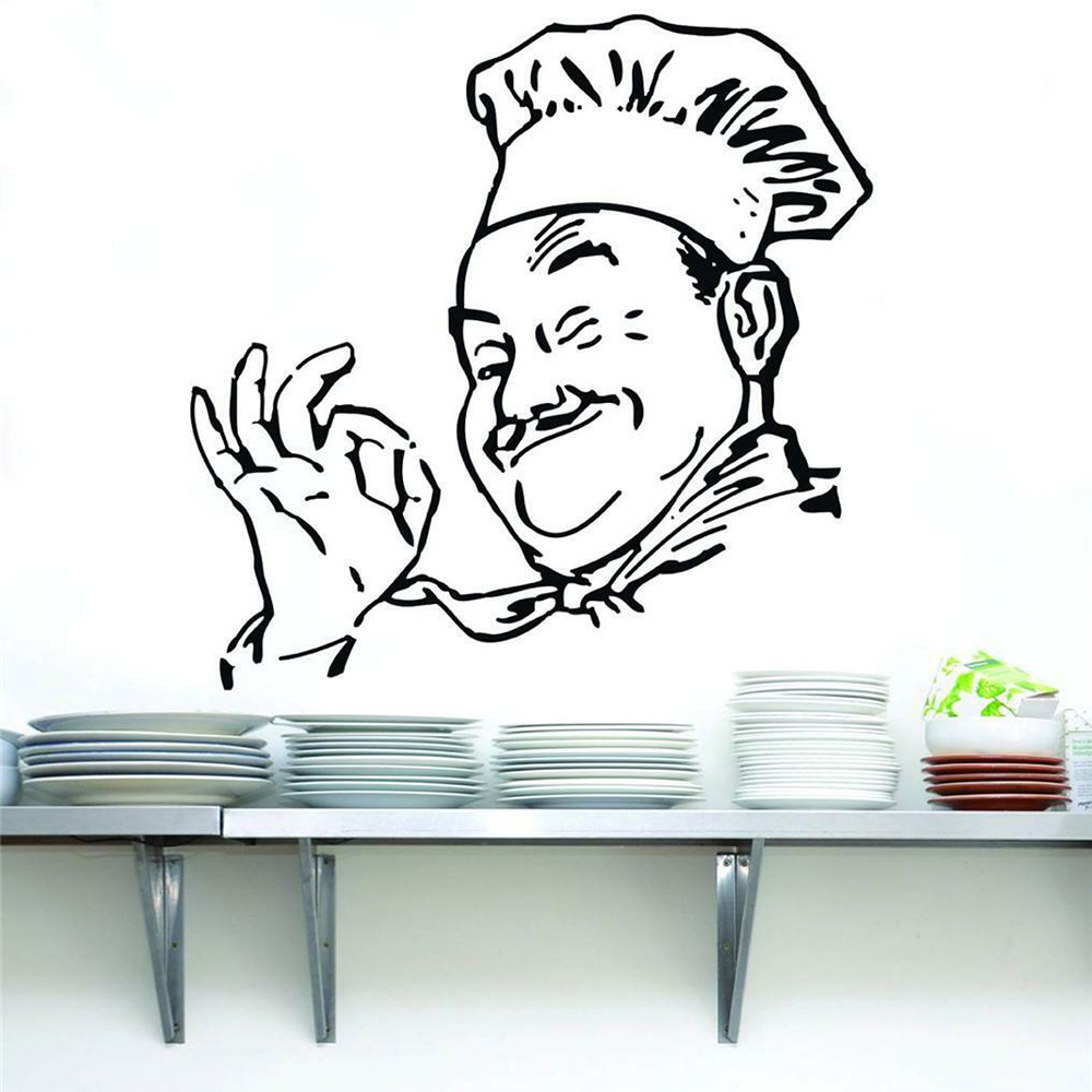Chef Wall Stickers Art Home Decor Vinyl Silhouette Funny Kitchen Cook Waterproof Wall Decals Dining Room Modern Adornment Y922