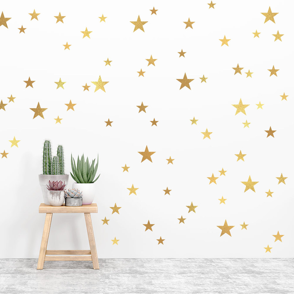 New Gold Stars Wall Decals Kids Room Baby Room Home Decor Vinyl Wall Stickers Diy Wallpaper Mural Art Decorations