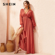 SHEIN Deep V Neck Red Solid Shirred Waist Split Hem A Line Dress Women 2019 Autumn Holiday Long Sleeve Ladies Boho Maxi Dresses