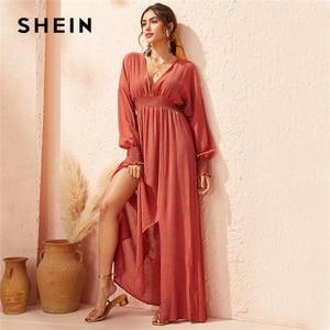 Image 1 - SHEIN Deep V Neck Red Solid Shirred Waist Split Hem A Line Dress Women 2019 Autumn Holiday Long Sleeve Ladies Boho Maxi Dresses