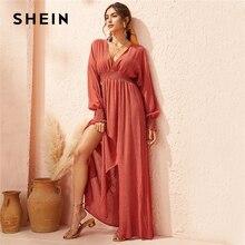 SHEIN Derin V Boyun Kırmızı Katı Büzgülü Bel Bölünmüş Hem Bir Çizgi Elbise Kadınlar 2019 Sonbahar Tatil Uzun Kollu Bayanlar boho Maxi Elbiseler