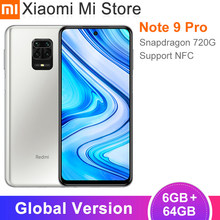 2020 Version mondiale Xiaomi Redmi Note 9 Pro 6GB 64GB téléphone portable Snapdragon 720G Octa Core 64MP Quad caméras 5020mAh NFC
