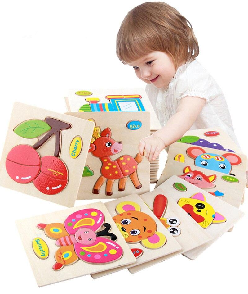 QGTQL- Rompecabezas de madera en 3d para niños, juguetes infantiles educativos, tablero de tangram con dibujos de animales para el aprendizaje