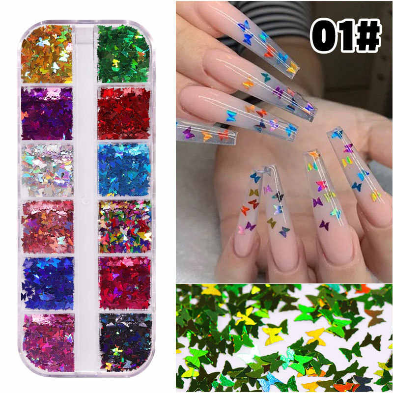 7 Style 12 Color Fluorescence Butterfly Nail Art Glitter Flakes 3D Colorful Nail Decoration Sequin Nail Sticker