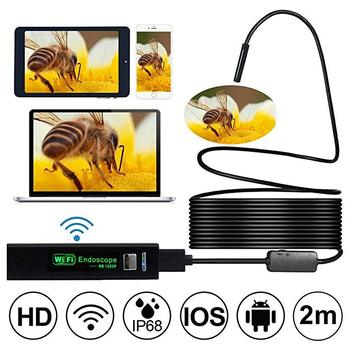 Wifi 8MM 1200P 2m 5Mm10m Semi-Rigied Endoscope Inspection Borescope Snake Video Flexible Camera for IOS Android Car Detection syanspan 9 wifi pipe inspection video camera drain sewer pipeline industrial endoscope support android ios 360 rotation 20 100m