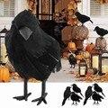 Моделирование черный ворона животных модель искусственные ворона черный птица Ворон Опора страшные украшения для вечерние поставки 18*10 см